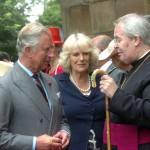 Charles & Camilla chat to the Bishop at St Asaph Cathedral